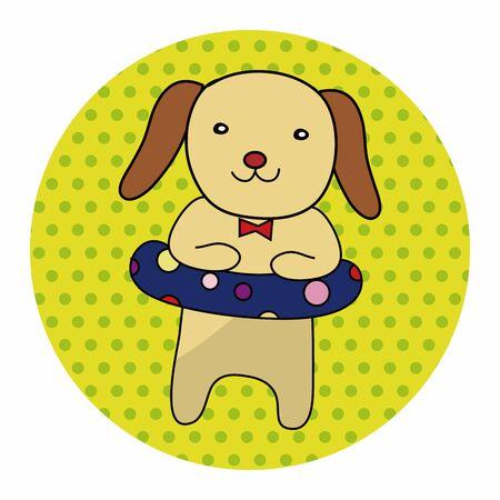 dog summer: animal dog summer cartoon theme elements