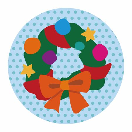 pine wreaths: Christmas wreath flat icon elements background,eps10