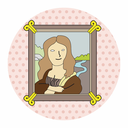 painting mona lisa theme elements vector,eps