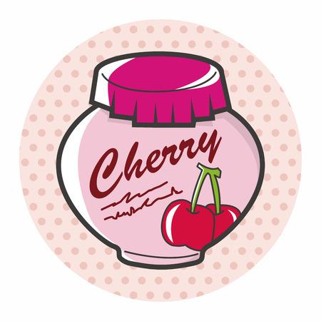 marmalade: cherry jam theme elements vector,eps Illustration