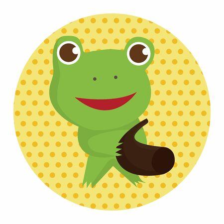 zoo amphibian: animal frog playing instrument cartoon theme elements