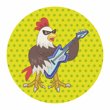 animal cock: animal cock playing music instrument cartoon theme elements