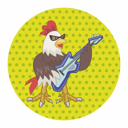 animal cock: gallo animale elementi tematici riproduzione di musica strumento cartone animato