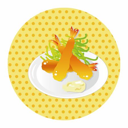 fritto: giapponese tema cibo elemento Gamberi fritti