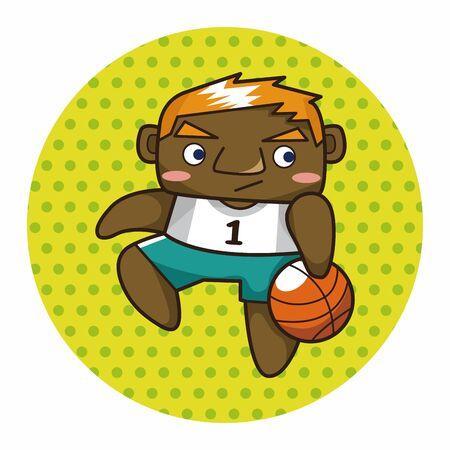 jump shot: basketball player elements Illustration