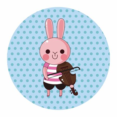 playing instrument: animal rabbit playing instrument cartoon theme elements Illustration