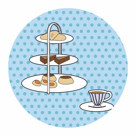English Afternoon Tea theme elements vector,eps