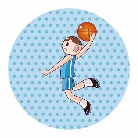 jump shot: basketball player cartoon elements vector Illustration
