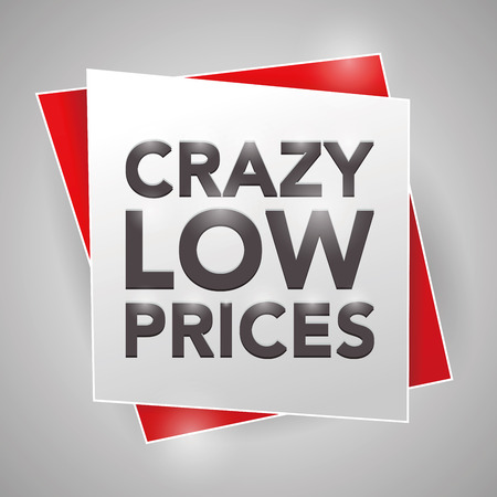 low prices: CRAZY LOW PRICES, poster design element