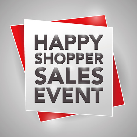 happy shopper: HAPPY SHOPPER SALES EVENT, poster design element Illustration