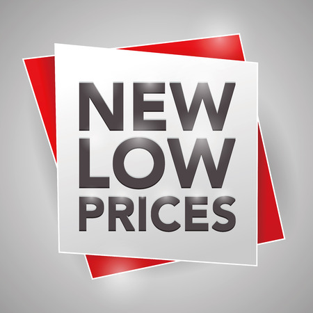 low prices: NEW LOW PRICES!, poster design element