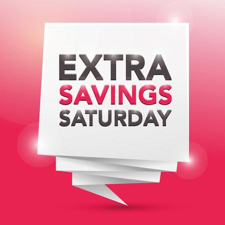 extra: EXTRA SAVINGS SATURDAY, poster design element