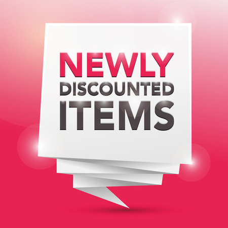 discounted: NEWLY DISCOUNTED ITEMS, poster design element