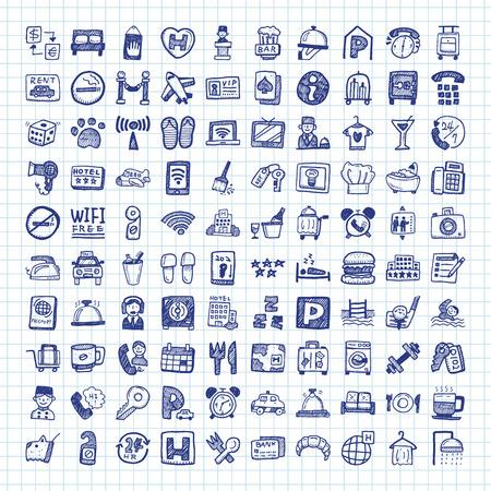 hotel: doodle hotel icons Illustration