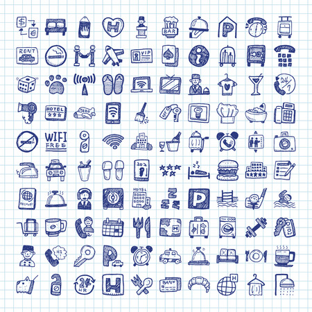doodle hotel pictogrammen Stock Illustratie