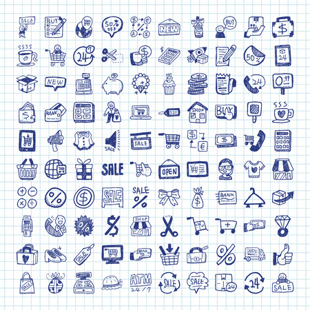 retail: doodle shopping icons