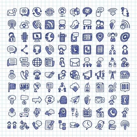 comunicação: Ícones de uma comunicação do doodle