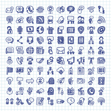wireless communication: doodle communication icons