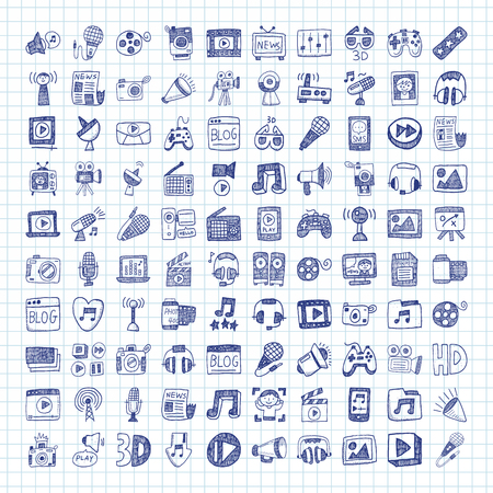 media icons: doodle media icons