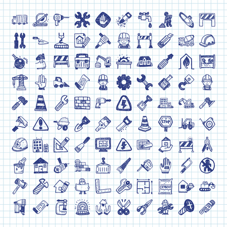 construction icons: doodle construction icons