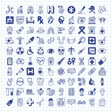 doodle Medical icons Vectores