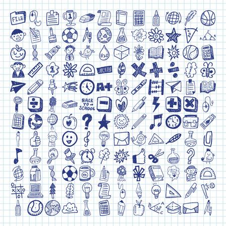 escuela primaria: iconos de la escuela del doodle