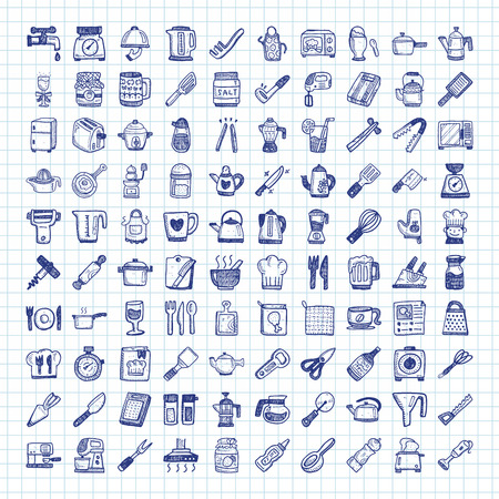 chef knife: doodle kitchen icons