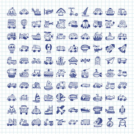 transport icons: doodle transport icons Illustration