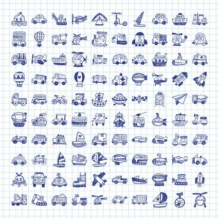icônes de transport doodle Vecteurs