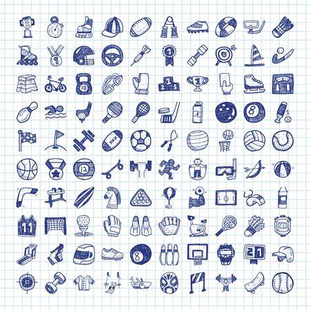 deporte: iconos del deporte del doodle