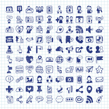 sharing: doodle Social media icons Illustration