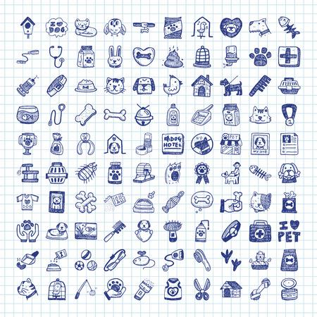 Iconos del doodle de mascotas Foto de archivo - 44174603
