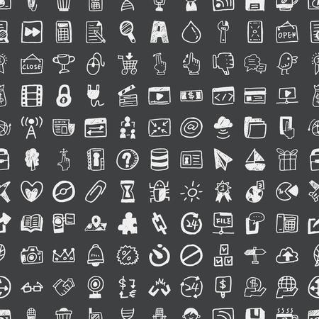 social gathering: Doodle Web, seamless pattern background Illustration