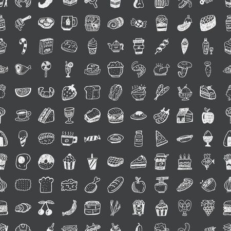 doodle food, seamless pattern background