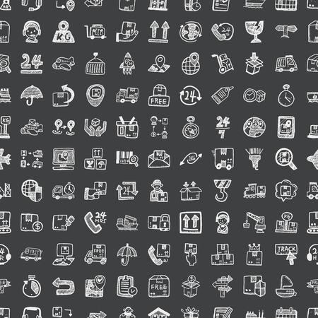 doodle logistiek, naadloze patroon achtergrond