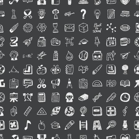 middle school: doodle school, seamless pattern background