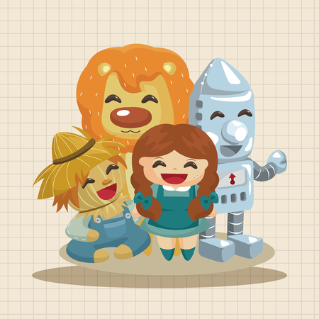 yellow hills: The Wizard of Oz cartoon theme elements