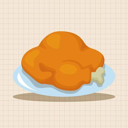 comida de navidad: Elementos del tema de pollo de la parrilla de la comida de Navidad