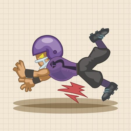 touchdown: football player theme elements Illustration