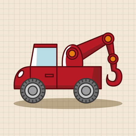wrecker: transportation tow truck theme elements Illustration