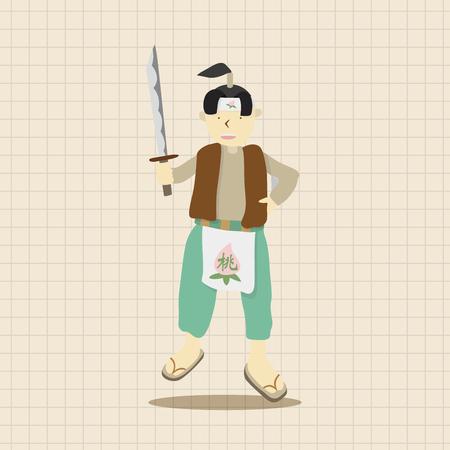 folk tales: Momotaro cartoon theme elements