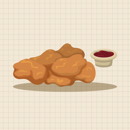 fried: Fried foods theme chicken nuggets elements