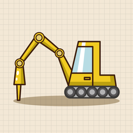 excavating machine: Transportation excavator truck theme elements