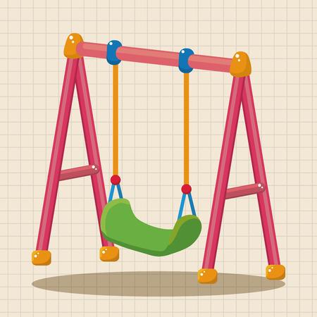 girl on swing: playground swing theme elements Illustration