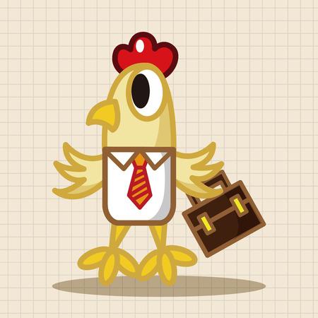 animal cock: gallo animale elementi del tema fumetto lavoratore