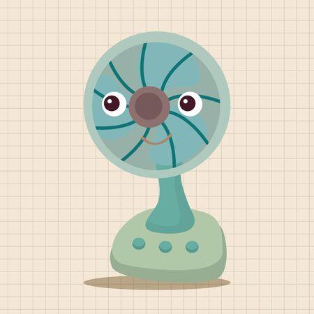 electric fan: Home appliances theme electric fan elements Illustration