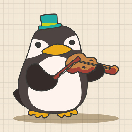 playing instrument: animal penguin playing instrument cartoon theme elements Illustration