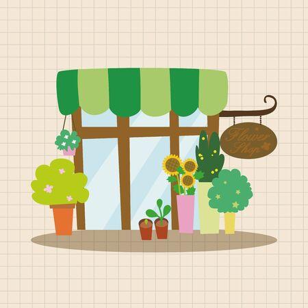 Gebouw bloemenwinkel thema elementen