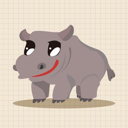 hipopotamo caricatura: Elementos del tema de dibujos animados hipopótamo animales