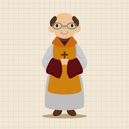 missionary: pastor and nun theme elements vector,eps